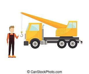 卡車, 起重機, 工人, 人