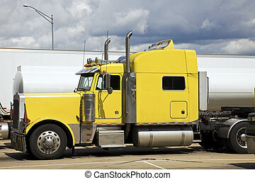 卡車, 黃色, 半