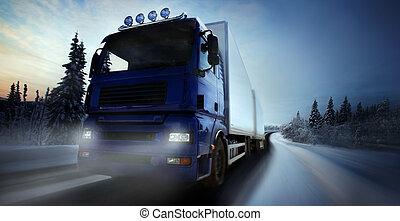 卡車, country-road, 開車