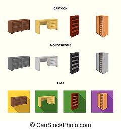 卡通漫画, 家具, 套间, 风格, mezzanines., 符号, 渐渐倾斜, 放置, 矢量, 股票, 镜子, web...