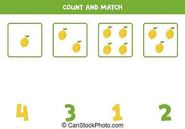 卡通漫画, 数学, lemons., 计数, 游戏, 漂亮
