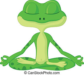 卡通漫画, 青蛙, 瑜伽