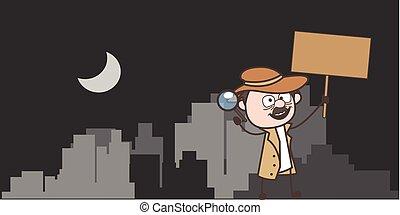 卡通, 偵探, 藏品, a, 招貼, 矢量, 插圖