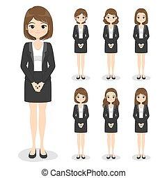 卡通, 制服, 手, style., 女孩, 頭髮, 衣服, 婦女, illustration., 套間, 辦公室, 正式, 擺在, suit)., (dress, 事務, 矢量