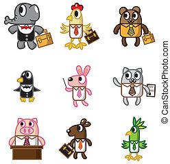 卡通, 圖象, 動物, 工人