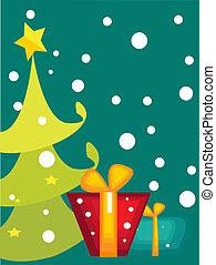 卡通, 圣誕樹, 卡片