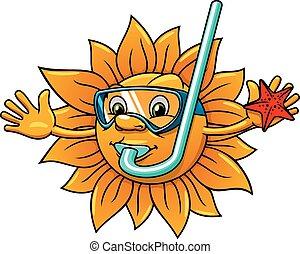 卡通, 太陽, 在, 潛水面具, 由于, starfish
