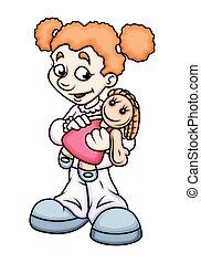 卡通, 女孩, 拿著  玩偶