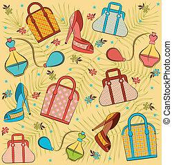 卡通, 婦女的, 袋子, 以及, shoes.