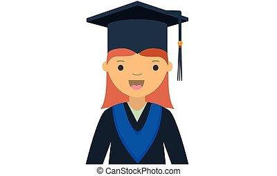 卡通, 字, 年輕, 女性, 畢業生