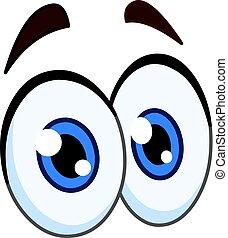 卡通, 對, ......的, 眼睛