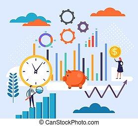 卡通, 戰略, 配合, 圖表, 商業描述, 設計, concept., 矢量, 計劃, 套間