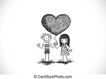 卡通, 手, 畫, 婚禮夫婦, w
