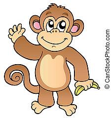 卡通, 招手, 猴子, 由于, 香蕉