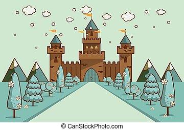 卡通, 插圖, ......的, 故事, 城堡, 上, 小山, 風景。