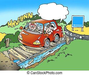 卡通, 插圖, ......的, a, 家庭, 在, a, 小的汽車, 上, a, 驅動, 以及, 有, 誤入歧途地不在