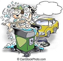 卡通, 插圖, ......的, a, 愉快, 技工, 誰, 拿, a, 洗澡, 在, a, 清洁水, 機器, 在, the, 車間