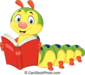 卡通, 毛虫, 讀書