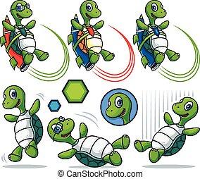 卡通, 海龜, 字, 集合