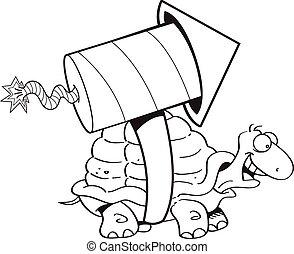 卡通, 海龜, 由于, a, rocket.
