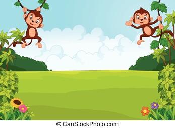 卡通, 漂亮, 猴子