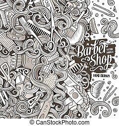 卡通, 漂亮, doodles, 頭發美容院, 框架, 設計