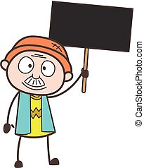 卡通, 爺爺, 藏品, a, 招貼, 矢量, 插圖