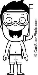卡通, 男孩, snorkeling