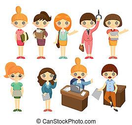 卡通, 相當, 辦公室, 婦女, 工人, 圖象, 集合