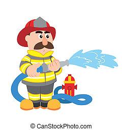 卡通, 矢量, 插圖, 消防隊員