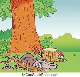卡通, 背景, 森林