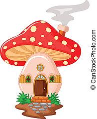 卡通, 蘑菇, 房子