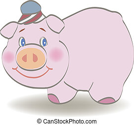 卡通, 豬, -, 矢量