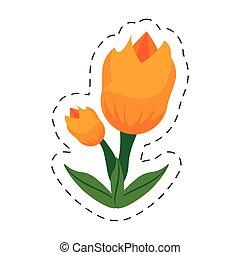 卡通, 郁金香, 花, 圖像