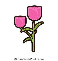 卡通, 郁金香, 花, 浪漫, 植物