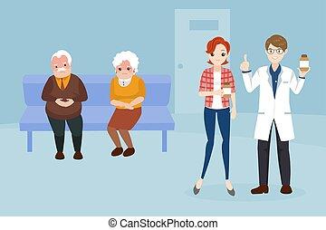 卡通, 醫生, 由于, 病人