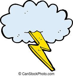 卡通, 閃電螺栓, 以及, 雲