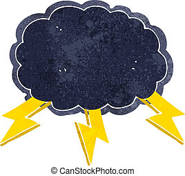 卡通, 雲, 以及, 閃電螺栓, 符號