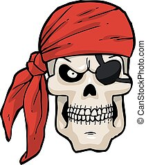 卡通, 頭骨, 海盜