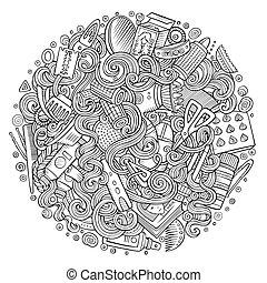 卡通, doodles, 頭發美容院, 插圖