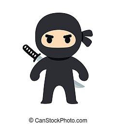 卡通, ninja, 插圖