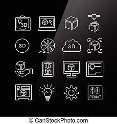 印刷品, 集合, 3d, 圖象