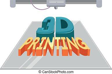 印刷, イラスト, 3d