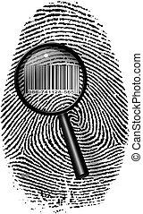 印刷, ガラス, barcode, 指, 拡大する