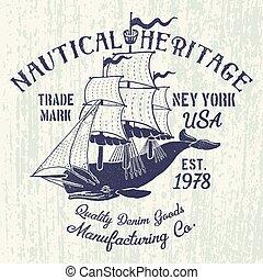 印刷, クジラ, 帆
