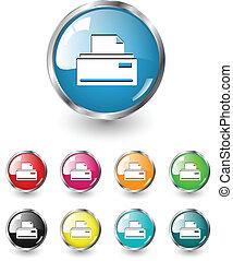 印刷, セット, アイコン, ベクトル