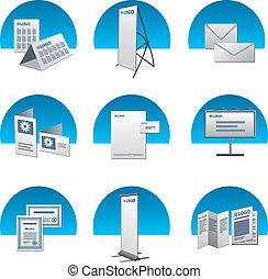 印刷, セット, 広告, アイコン
