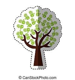 印刷, ペンキ, 木, のまわり, 手