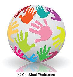 印刷, ボール, 手