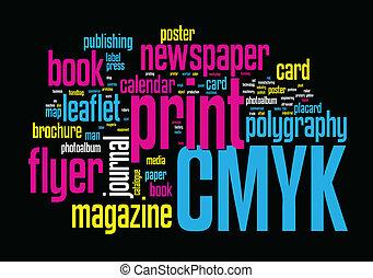 印刷, 単語, 雲